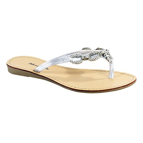 HerStyle Women's Janiesa Manmade Flat Th - Ladies Jeweled Thong Sandal Shopping Results