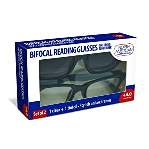 North American Bifocal Eyeglasses Including Sun Reader For Reading And Computer Screen Eye Protection Stylish Unisex Frames - (Clear & Tinted) (4.0) (2 packs) (4 Glasses Total)