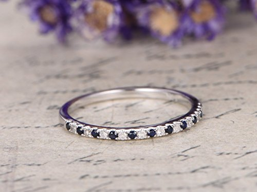 Natural Blue Sapphire Diamond Wedding Band Solid 14k White Gold Gemstone Engagement Ring Half Eternity Thin Pave Wedding Band July Birthstone Bridal Anniversary Gift Stacking Stackable Matching Band