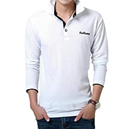 Men's  Solid Color Long Sleeve Polo Tee T-Shirt