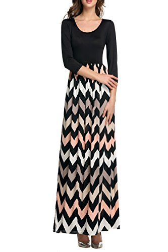 ANGVNS Womens Fashion 3/4 Sleeve Casual Contrast Color Striped Maxi Dress ,Black ,Size- Large