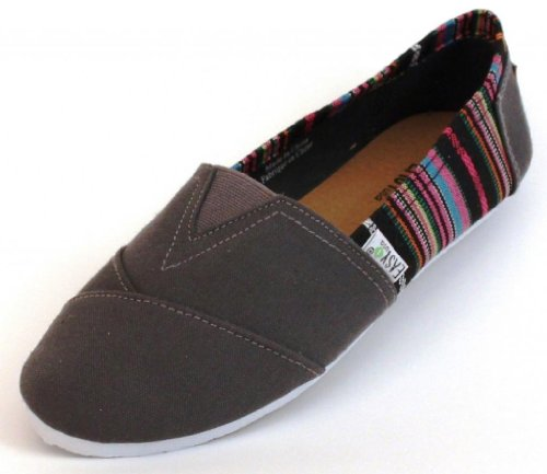 EasySteps Women's Canvas Slip-On Shoes with Padded Insole Barbie Gray
