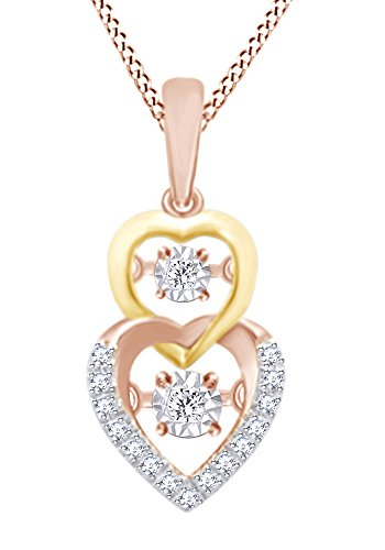 Two Tone Double Heart Pendant Necklace In 10k Rose Gold With 0.25 CT Round Cut White Natural (0.25 Ct Double Heart)