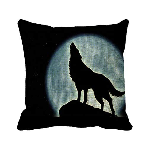 Automaket Halloween Music Night of The were Wolf Pillow Cover Decorative 20x20inch Square Cotton Linen Throw Pillow Case Decor Cushion -