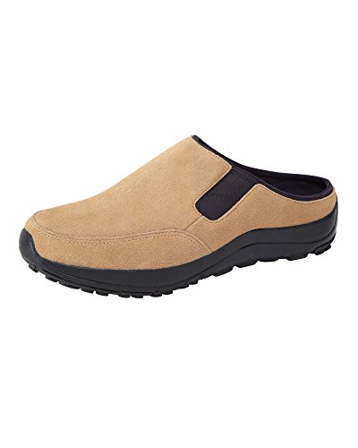 Cotton Traders Unisex Womens Ladies Mens Lightweight Suede Clogs Shoes E Fit Leather Slip-On Tan
