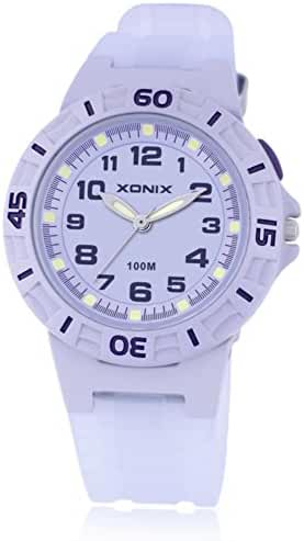 Boys and girls night light waterproof/100Meter quartz sports watch-E