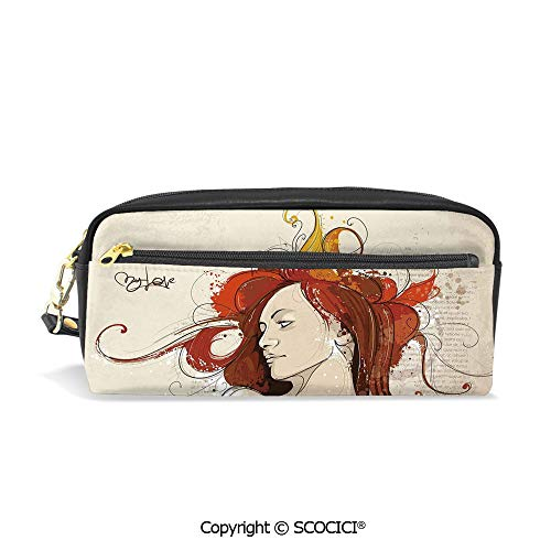 Students PU Pencil Case Pouch Women Purse Wallet Bag Muse Woman Portrait in Grunge Style Elegance Hand Drawn Mystic Beauty Picture Waterproof Large Capacity Hand Mini Cosmetic Makeup Bag