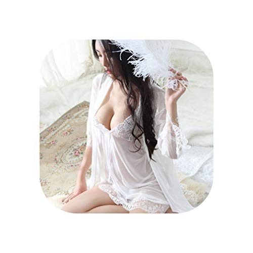 Robes Set 2019 Lace Bathrobe Sets Sexy Nightdress Peignoir Robe Sets #L98,White,L