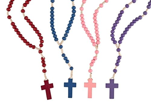 Assorted Color Wooden Prayer Bead Cord Rosary with Latin Cross, 11 Inch, Pack of 24 Color Wooden Rosary Wood