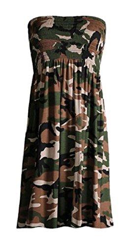 Janisramone para mujer Señoras Tallas Grandes Sheering boobtube palabra de honor sin tirantes superior del chaleco del vestido 8 22 Army Khaki