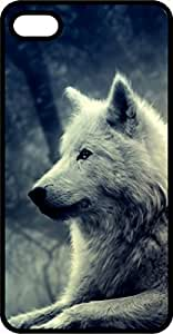 White Wolf at Night Black Plastic Case for Apple iPhone 5 or iPhone 5s