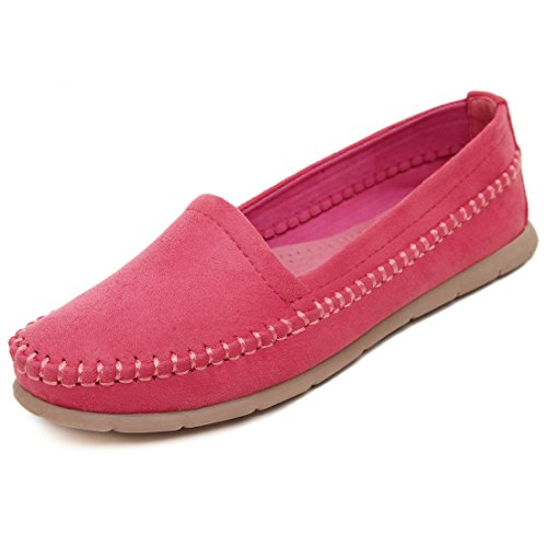 LL STUDIO Womens Simple Comfort Rose Synthetic Driving Walking Moccasins Loafers Boat Shoes 5 M US -  LL STUDIO-QZ339-3-Rose35
