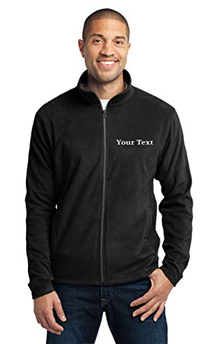 Custom Embroidered Lightweight Jacket for Men - Embroidery Zip Up Fleece Outerwear Black