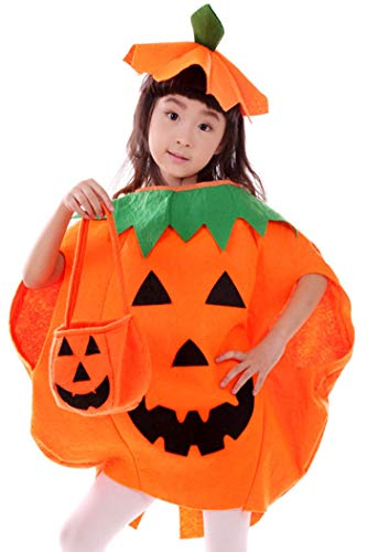 Kids Halloween 3PC Pumpkin Costume Cute Cosplay Party Clothes Orange ()