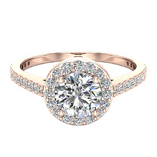 Dainty Halo Diamond Engagement Ring 115 carat total weight 14K Rose Gold Ring Size 55