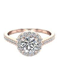 1.15 ctw Dainty Halo Diamond Engagement Ring 14K Gold - GIA Certificate