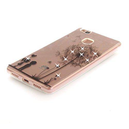 Huawei P9 Lite Hülle Silikon Durchsichtig mit Muster Strass, Lomogo Schutzhülle Stoßfest Kratzfest Handyhülle Case für Huawei P9Lite - TOXI26456 #1 #4