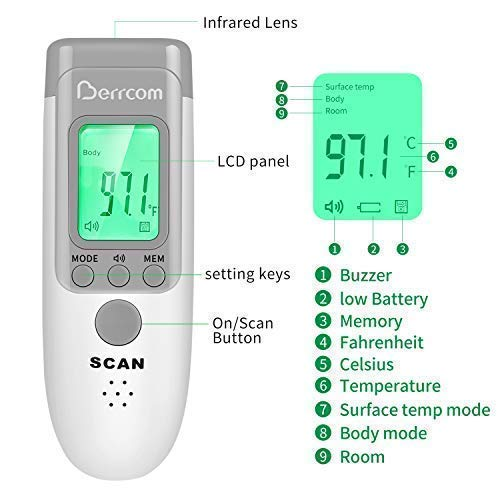 Berrcom Digital Non Contact Infrared Forehead Thermometer - 3-Modes Body/Surface/Room Temperature Reading Device – Baby Thermometer - LCD Display Infrared Thermometer - CE and FDA Approved