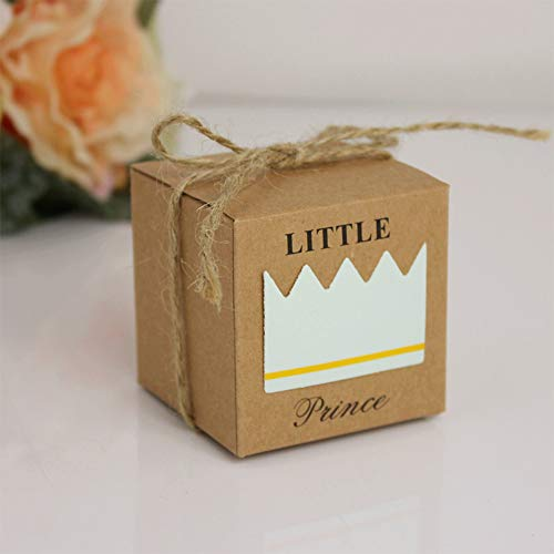 (50pcs Blue Little Prince Baby Shower Favor Boxes with 50pcs Jute Twine,Rustic Kraft Paper Candy Bag Gift Box for Baby Shower Party Supplies Cute Birthday Boy)