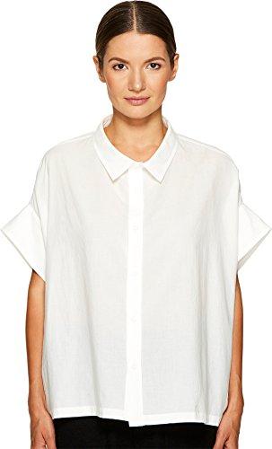 Y's by Yohji Yamamoto Women's Mini Sleeve Short Button Up Top White 1 by Y's by Yohji Yamamoto