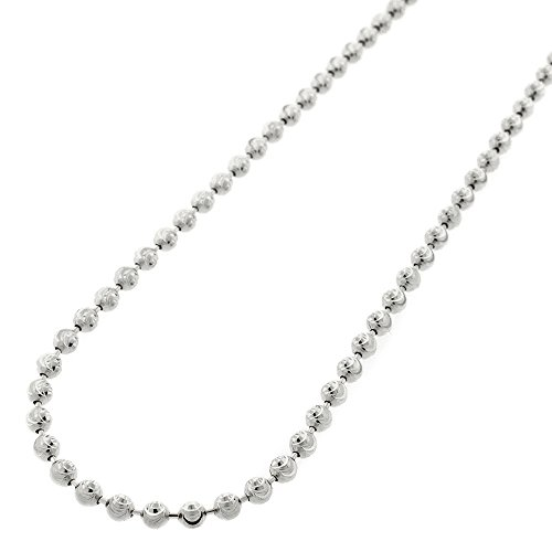 Sterling Silver Italian 3mm Ball Bead Moon Cut Solid 925 Rhodium Necklace Chain 16