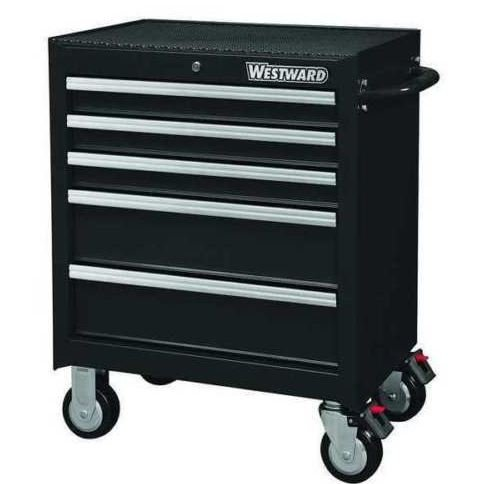 olling Cabinet, 5 Drawers, Black, 32H895 ()