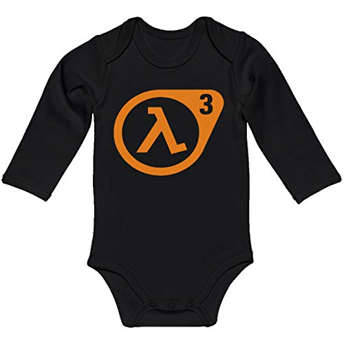 Indica Plateau Baby Romper Half Life 3 Black for 12 Months Long-Sleeve Infant Bodysuit