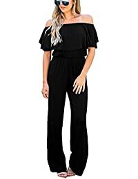 Women Off Shoulder High Waist Long Wide Leg Pants...