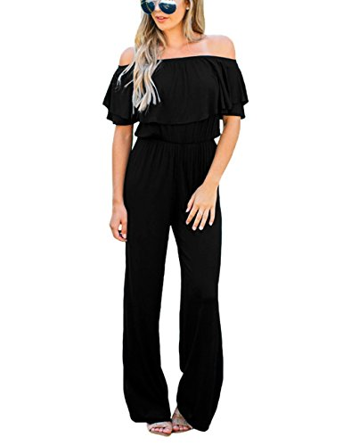 Lookbook Store Women's Sexy Off Shoulder High Waisted Ruffled Long Wide Leg Pants Black Jumpsuits Rompers Size M