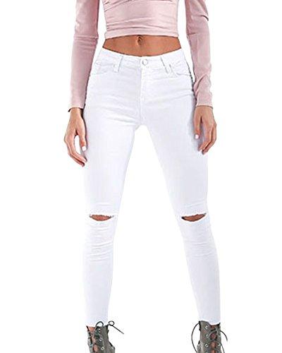 A In Matita Leggings Elastico Lunghi Pantaloni Skinny Vita Donna Denim Kasen Bianco Alta Jeans Awgq85Px