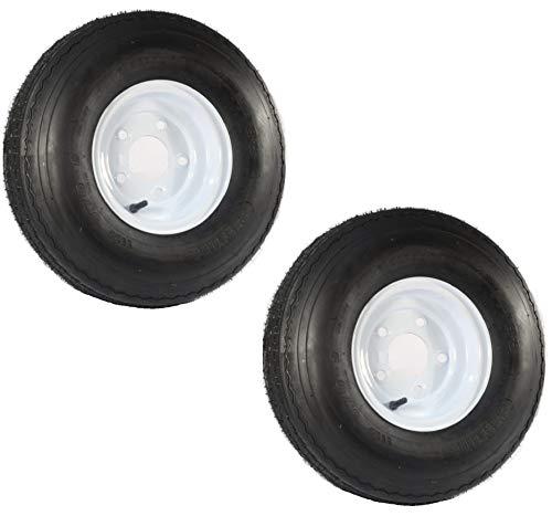 2-Pack Trailer Tire On Rim 5.70-8 570-8 5.70 X 8 8 in. B 5 Lug Bolt Wheel White ()