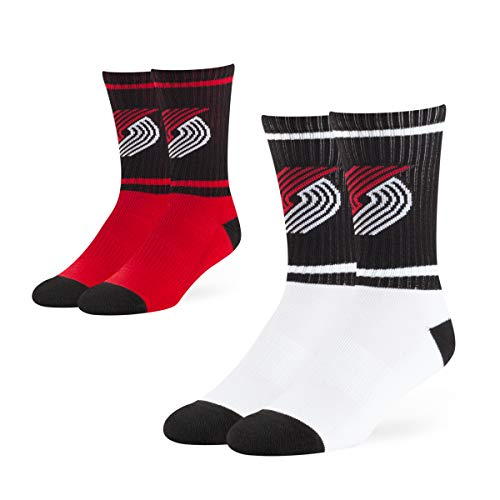 (OTS NBA Portland Trail Blazers Male Dasher Sport Socks 2 Pack, Team Color, Large)