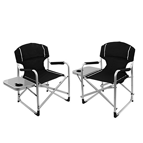 Magshion Folding Director's Chair Aluminum Camping Lightweight Chair with Side Table Set of 2