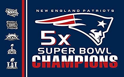 RongJ- store Sports Flag NFL New England Patriots 5-Time Super Bowl 3x5  Banner Champion Flags