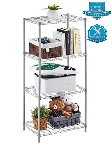 - AOOU Shelf 4-Tier Shelving Unit, Wire Shelf Unit Free Standing, Classic Metal Steel Storage Rack Sturdy for use in Pantry, Living Room, Kitchen, Garage, Coated with Silver