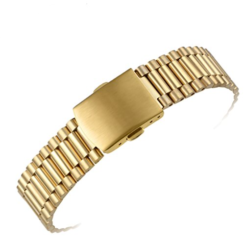 16mm Premium Gold Inox Wristwatch Bands for Women's Deluxe Watches 316L Solid Stainless Steel Metal -  AUTULET, OT.TY1.16GD.ZD