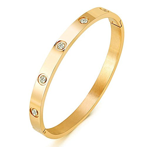 Mocalady Jewelry Rose/Gold Plated Bangle Bracelet Set In Stone Stainless Steel Zirconia Bangle Bracelets for Women...