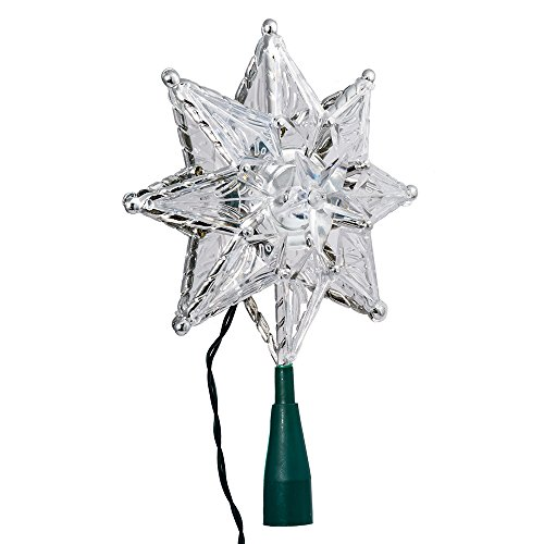 Kurt Adler 10-Light 8-Point Star Christmas Treetop, 8-Inch, Clear (Topper Lit Star Tree)