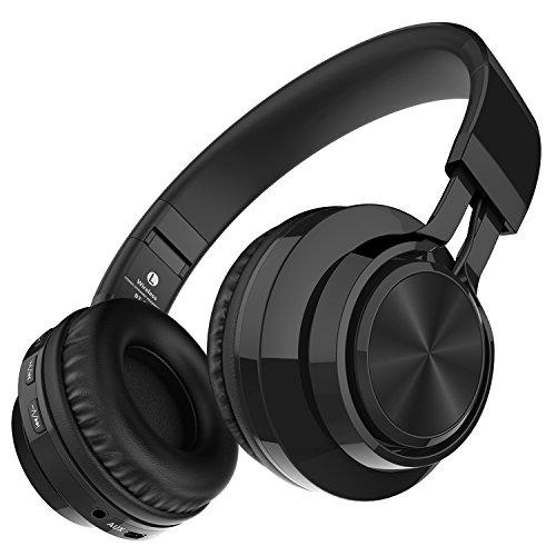 Darkiron Bluetooth drahtloser Kopfhörer: mit eingebautes Mirkrofon, TF Karte, FM Radio und mitgelieferte Audio-Kabel, kompatibel mit meisten Bluetooth-Geräte, Handys, Laptop, TV usw (Schwarz)