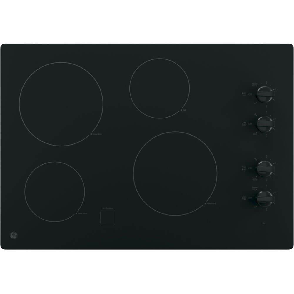 GE JP3030DJBB 30'' Black Electric Smoothtop Cooktop (Certified Refurbished) by GE