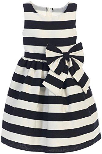 Big Bold Border (Flower Girl Sleeveless Bold Stripe Woven Dress for Big Girl Black 8)