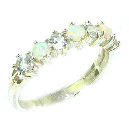 Real Genuine Opal & Aquamarine Womans Eternity Ring - Size 7 ()