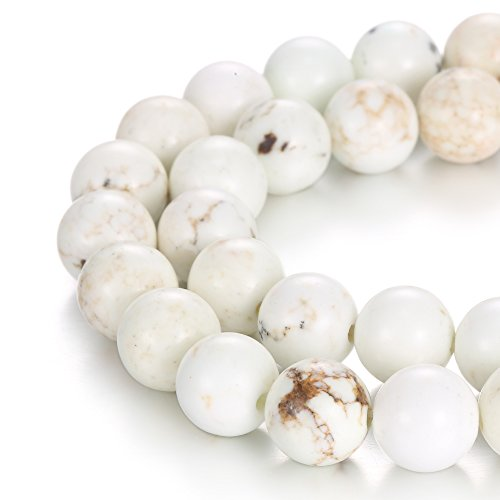 BRCbeads Natural 2.0mm Large Hole Chinese White Turquoise Gemstone Loose Beads Smooth Round 8mm Crystal Energy Stone Healing Power for Jewelry Making