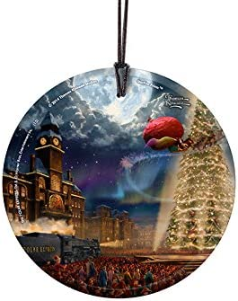 Amazon Com Trend Setters The Polar Express Thomas Kinkade Starfire Prints Hanging Glass Ideal For Gifting And Collecting Home Kitchen