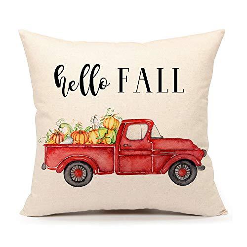 4TH Emotion Hello Fall Truck Throw Pillow Cover Farmhouse Autumn Cushion Case for Sofa Couch 18x18 Inches Cotton Linen