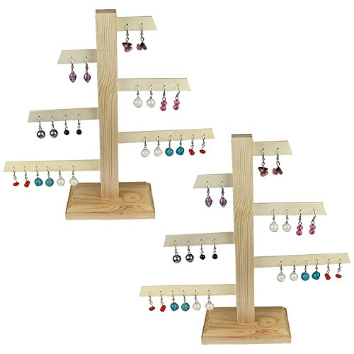 Ikee Design 2 Pcs Set Wooden Jewelry Display Earring Stand