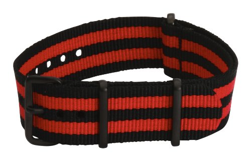 22mm Premium Nato PVD Nylon Striped Black / Red Interchangeable Replacement Watch Strap Band