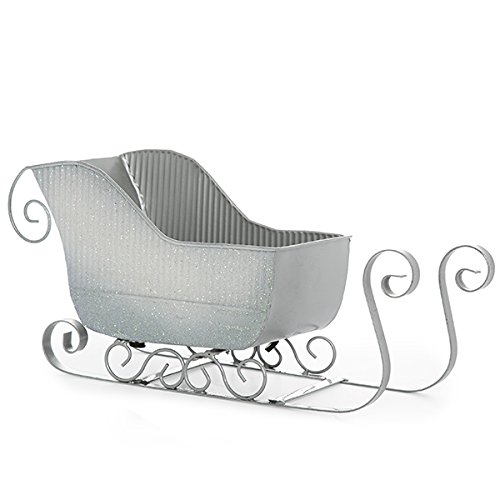 The Lucky Clover Trading Silver Glitter Sleigh Basket, Small