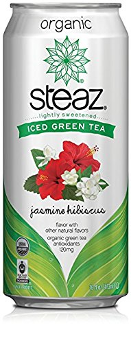 Steaz Organic Iced Green Tea with Jasmine Hibiscus - 16 oz