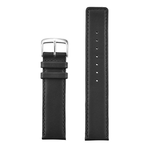 Speidel Genuine Leather Square Tip Watch Band 20mm Long Black Oiled Leather Replacement Strap, Stainless Steel Metal Buckle Clasp, Watchband Fits Most Watch Brands by Speidel (Image #2)